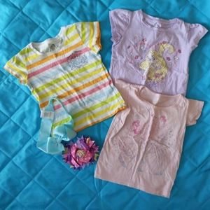 2t girls clothes 3 shirts & 2 bows